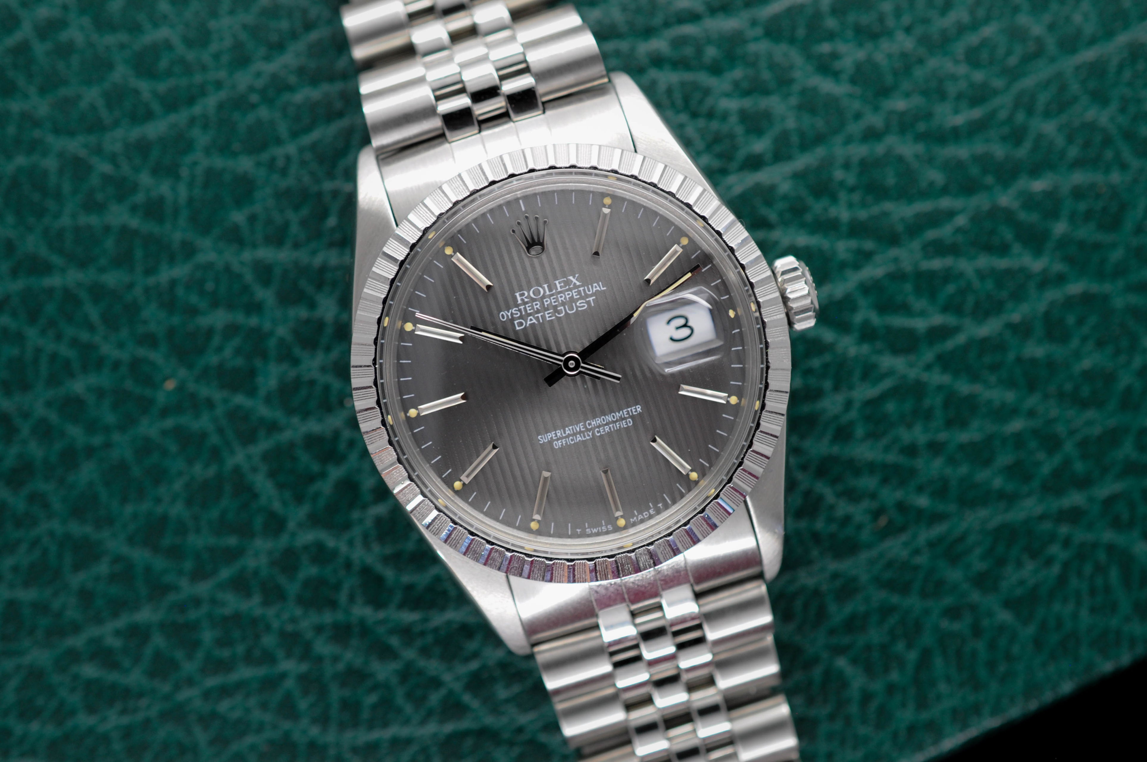 9b439e66d3f44 1986 Rolex Datejust Ref. 16030 Grey Tapestry Dial - Box   Papers ...